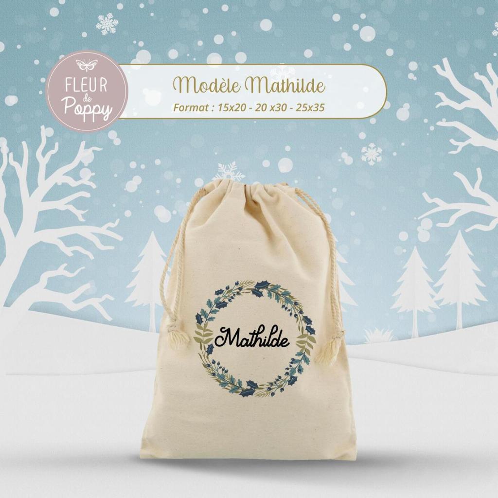 Sacs cadeaux de Noël en tissu personnalisable prénom