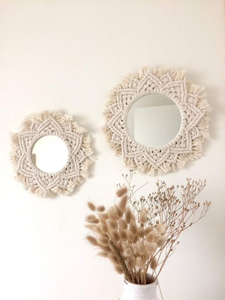 Miroir rond macramé