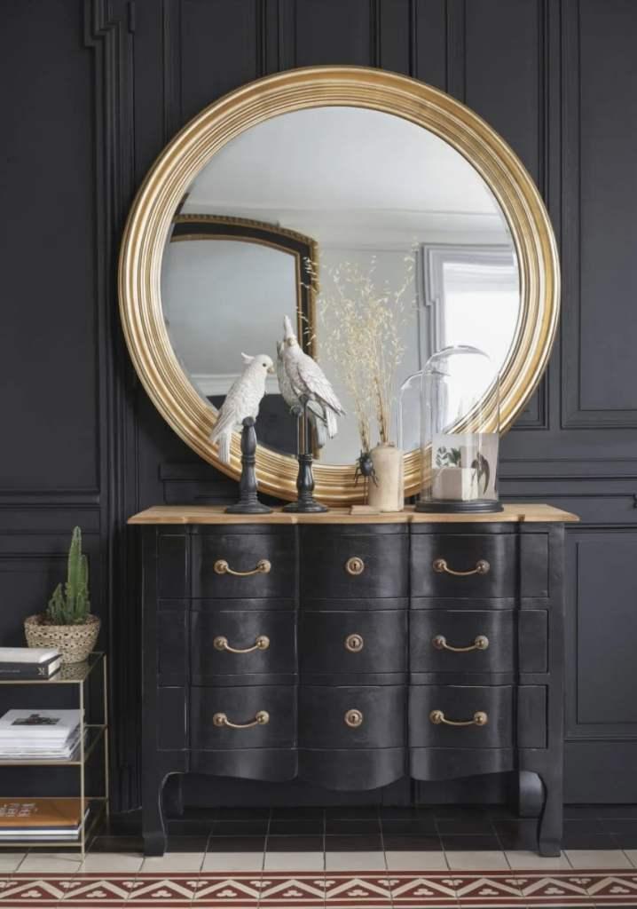 miroir moulures rond et doré