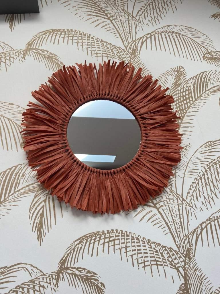 Miroir rond raphia rouge - Herea