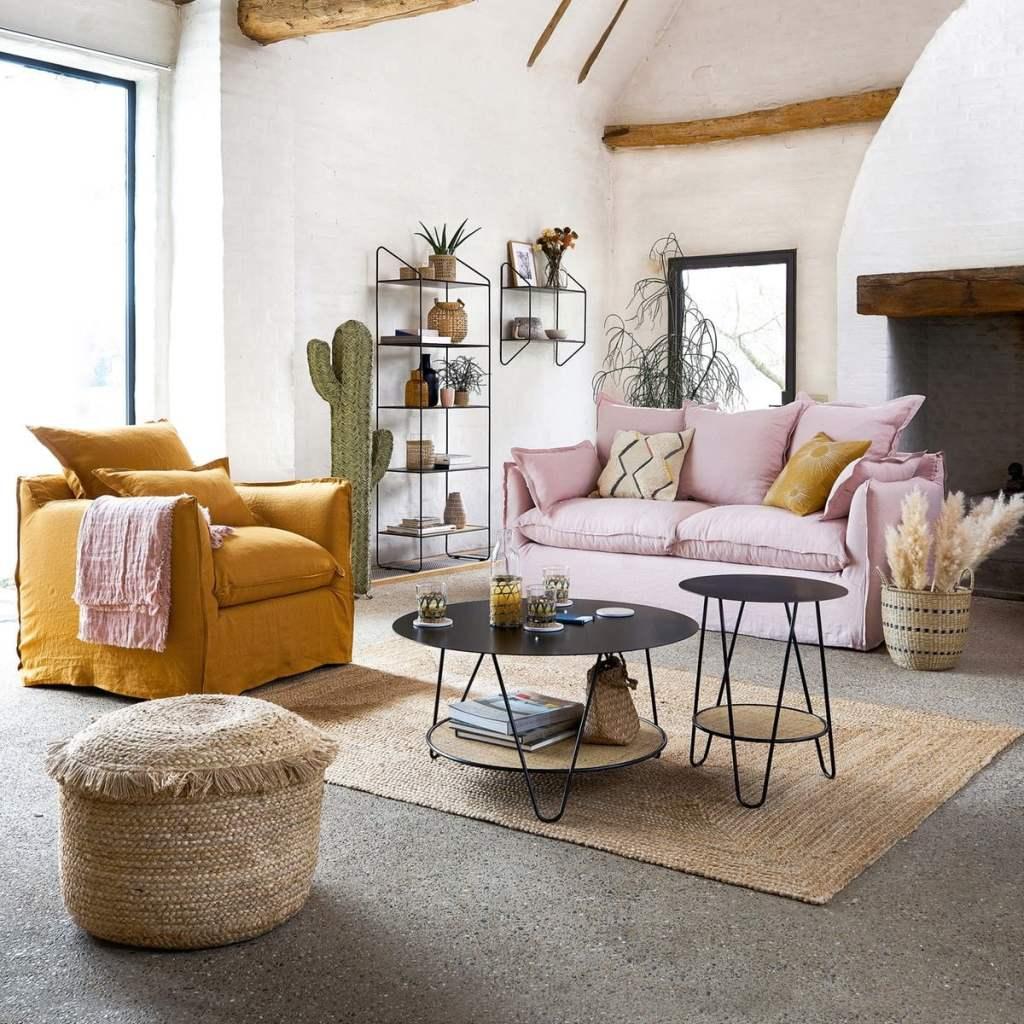 Canapé tissu fabriqué en France , couleurs rose et moutarde