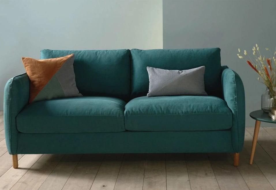 Canapé tissu fabriqué en France , bleu vert