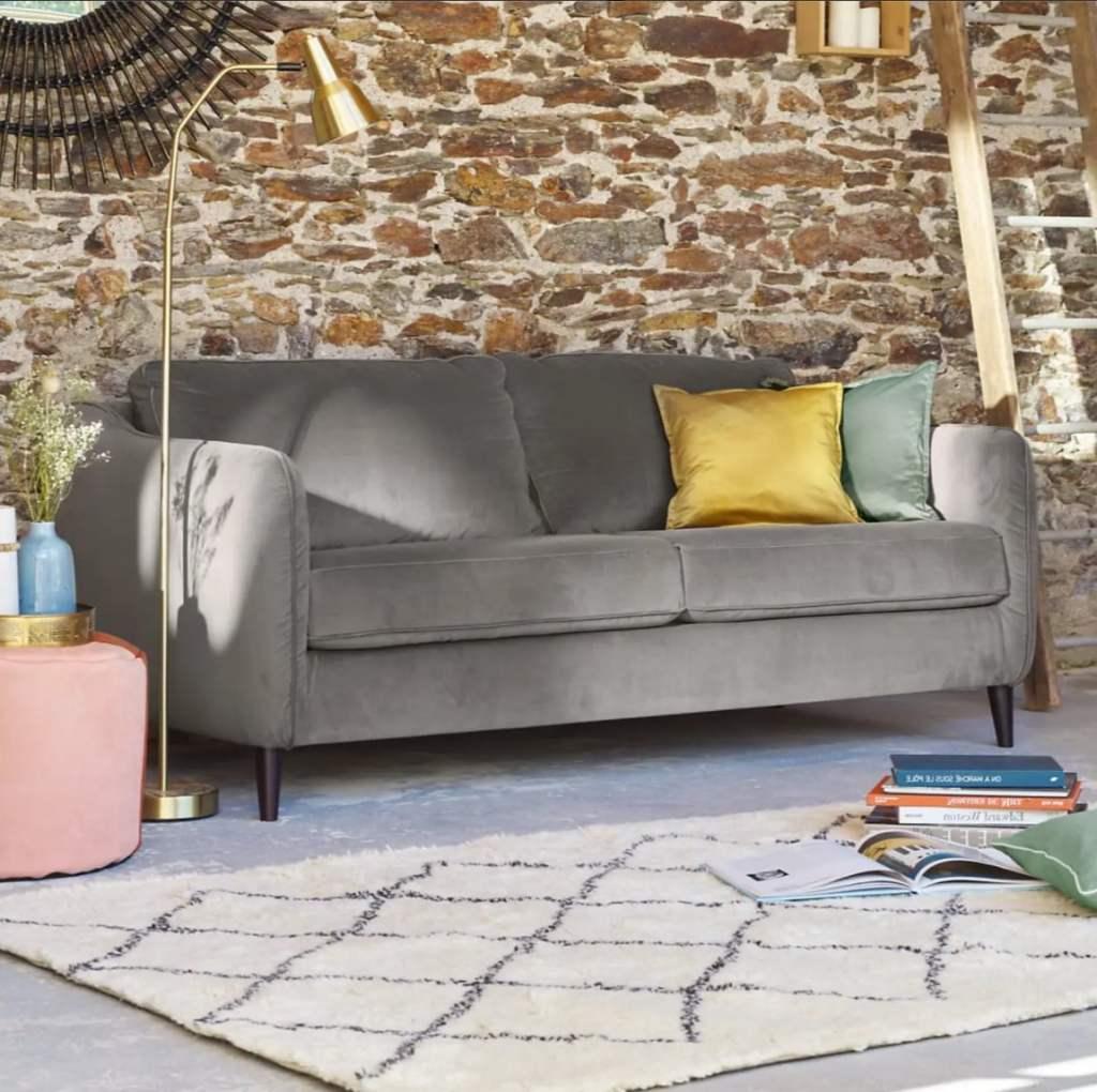 Canapé tissu fabriqué en France , velours gris