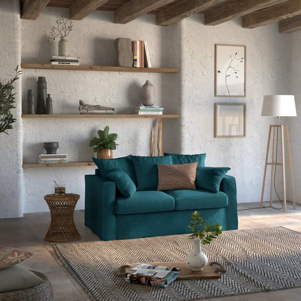 Canapé tissu fabriqué en France , lin froissé vert bleu