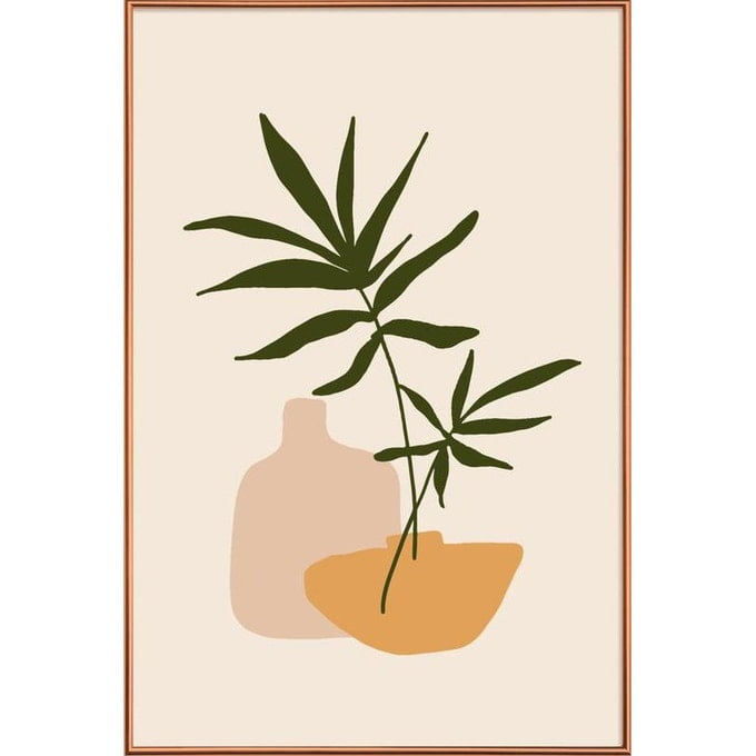 Poster - Vases - Feuilles & Plantes en Blanc ivoire & Marron - JUNIQE