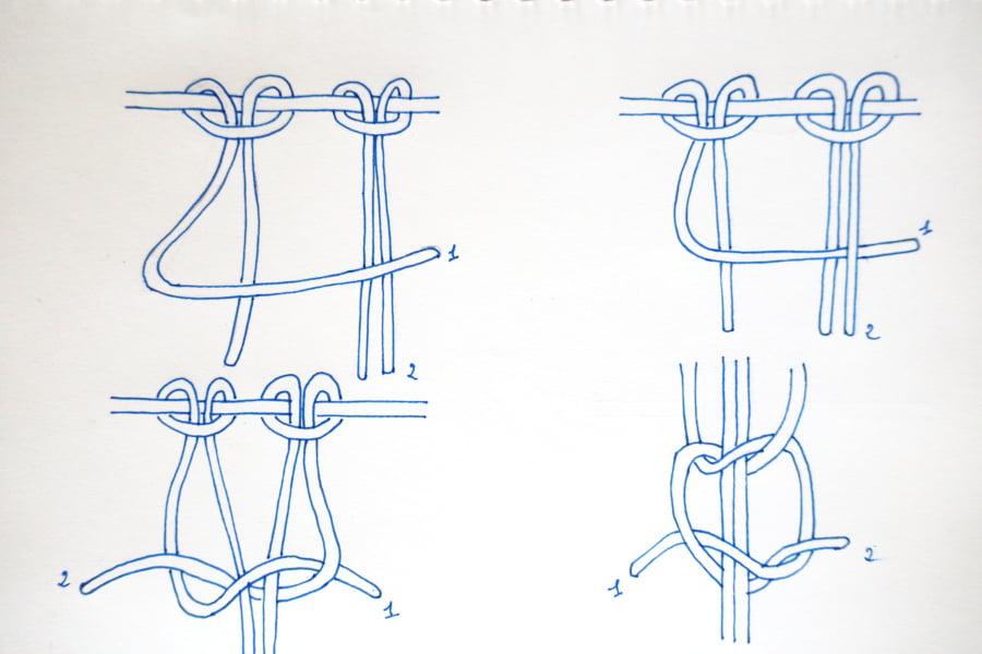 Explications nœud plat - macramé