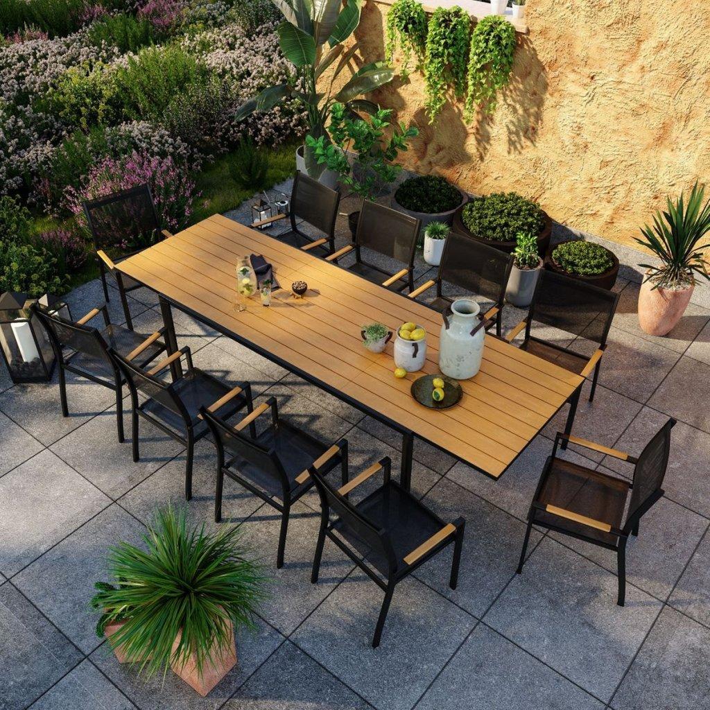 Salon de jardin aluminium, table extensible