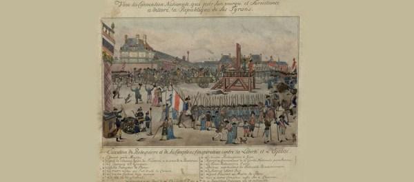 Peinture représeantant l'exécution de Robespierre avec une guillotine sur la place publique