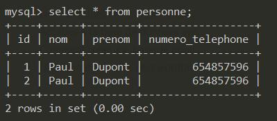 Affichage des données d'une table mysql
