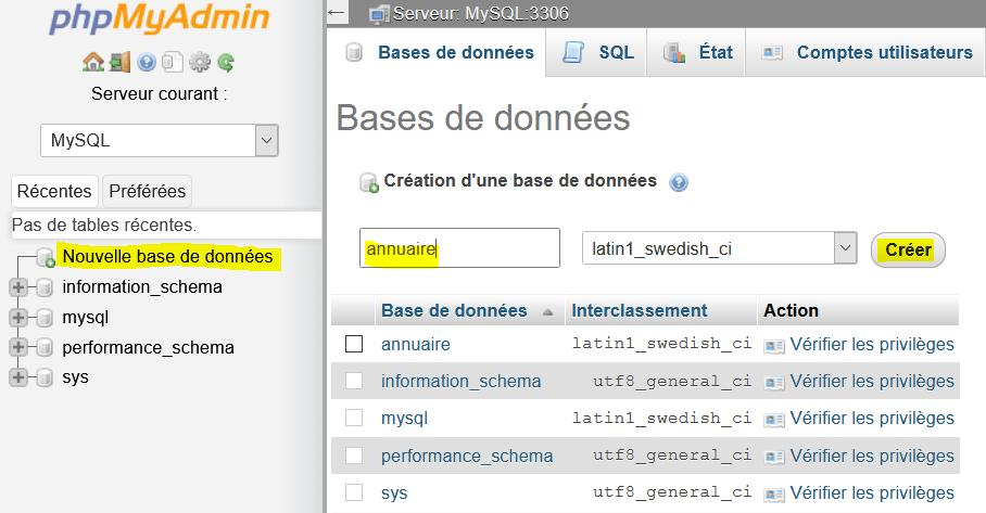 Création d'une base de données avec phpMyAdmin
