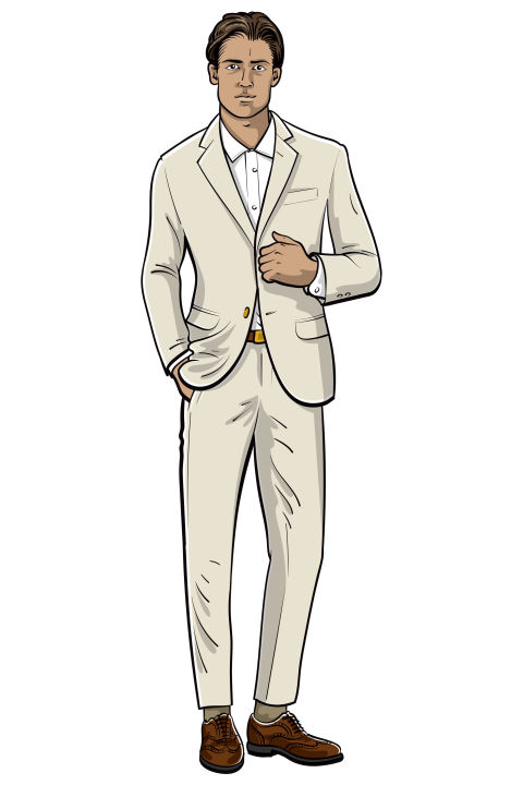When meeting with clients, a professional look is important. But depending on the type of client, or the type of lunch, a full-blown suit and tie is not always necessary. For something that's professional, but between dressy and business casual, a cotton suit with brogues and a simple dress shirt—sans tie—is an excellent way to split the difference. Shop similar: Ecru Monaco slim-fit stretch cotton suit ($2,750) by Gucci, mrporter.com; Slim blue dress shirt ($119.50) by Club Monaco, clubmonaco.com; Chetwynd brown leather brogues ($540) by Church's, matchesfashion.com
