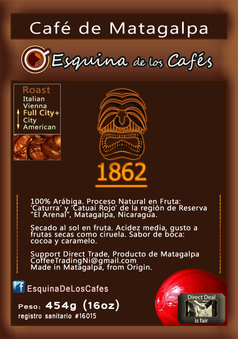 Café de Matagalpa 1862 is the full name of this Vintage Unique Flavour. It taste like that Premium Coffee Berries dried naturally at the farm of your Grandfather 50 years ago. It was naturally dried in fruit, dehusked 'pilado' by hand, and then roasted. This Coffee is vintage because is Selected by density submerged in water, but it's not graded in machine. Enjoy this unique vintage Coffee: 'Café de Matagalpa'.