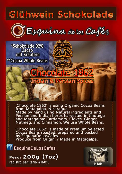 Glühwein Chocolate. Organic Cocoa Beans  from Matagalpa, Nicaragua.