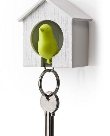 chaveiro em forma de casa com porta chaves passarinho verde
