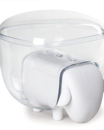 caixa em forma de ovelha branca e transparente