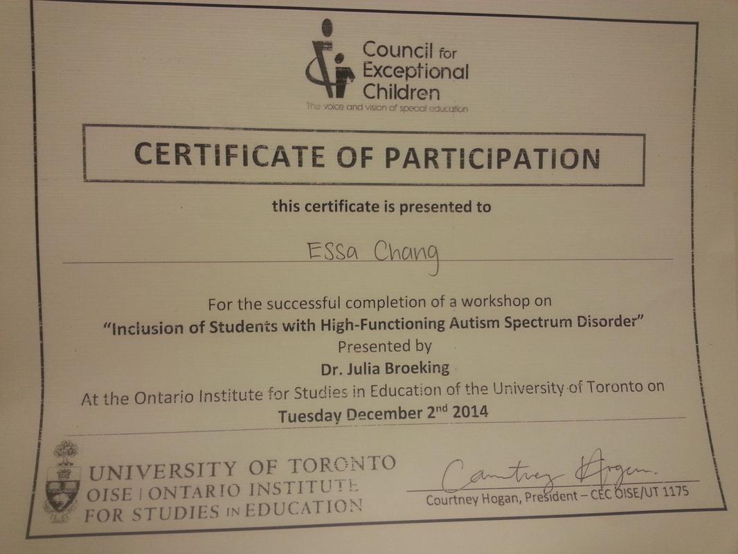 Certificates Essa Chang