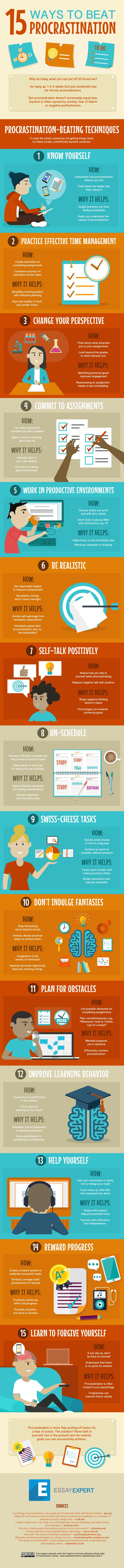 15 Ways to Beat Procrastination Infographic