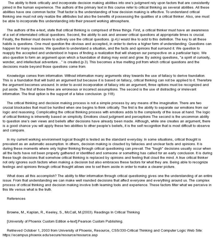 unit vi essay phil critical thinking unit vi essay unit vi  3 pages discussion board i critical thinking phil 1010