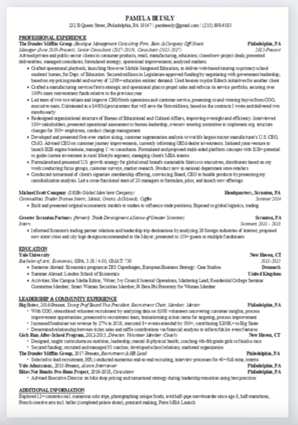 Want To See A Good Resume Format Wharton Delivers