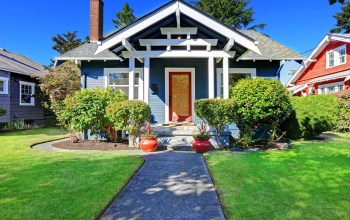 Exterior of small Craftsman-style bungalow