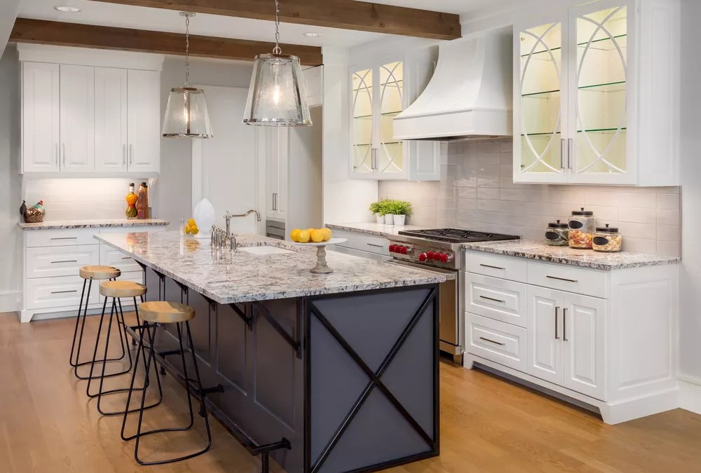 Kitchen staged for home showing