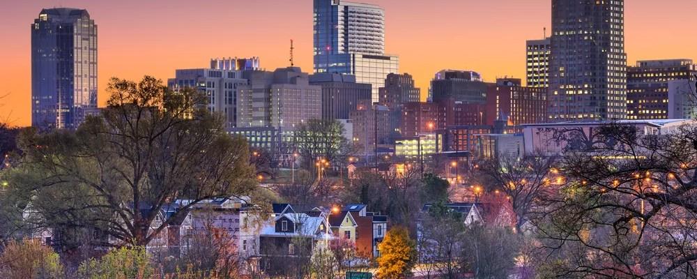 Raleigh, NC skyline at dusk