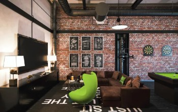 Game room with brick walls