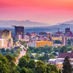Pink sunset of the Asheville, NC skyline