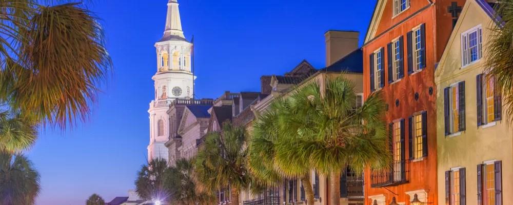 Downtown Charleston at night