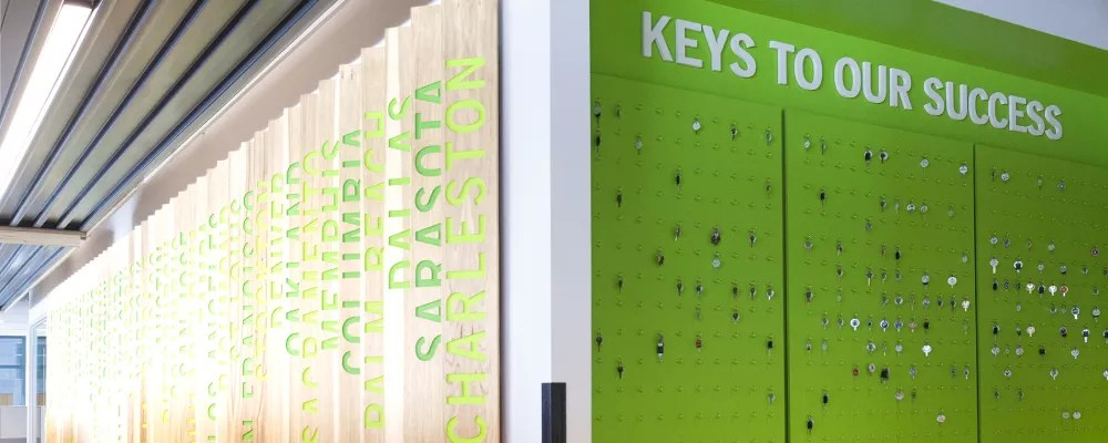 Key wall in Extra Space Storage corporate headquarters in Salt Lake City, UT