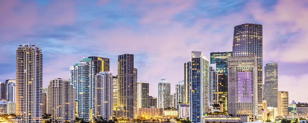 Skyline of tall buildings in Downtown Miami