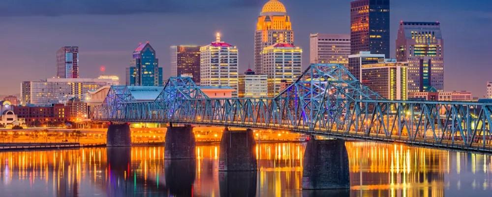 Skyline of Louisville, KY at dusk