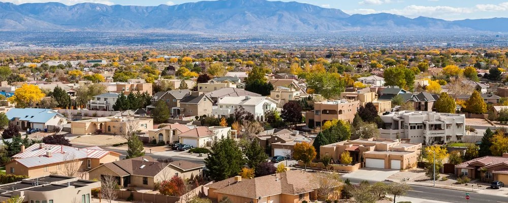 Aerial view of homes and mountains in Albuquerque
