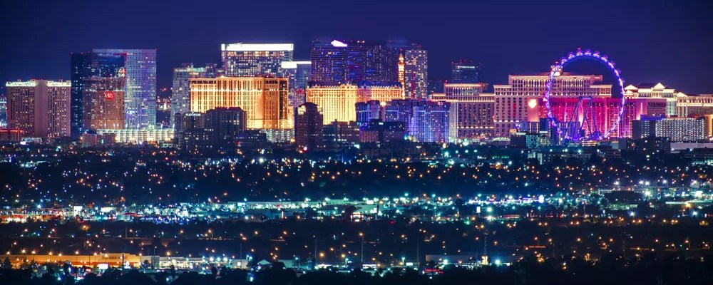 skyline of the Las Vegas strip at night