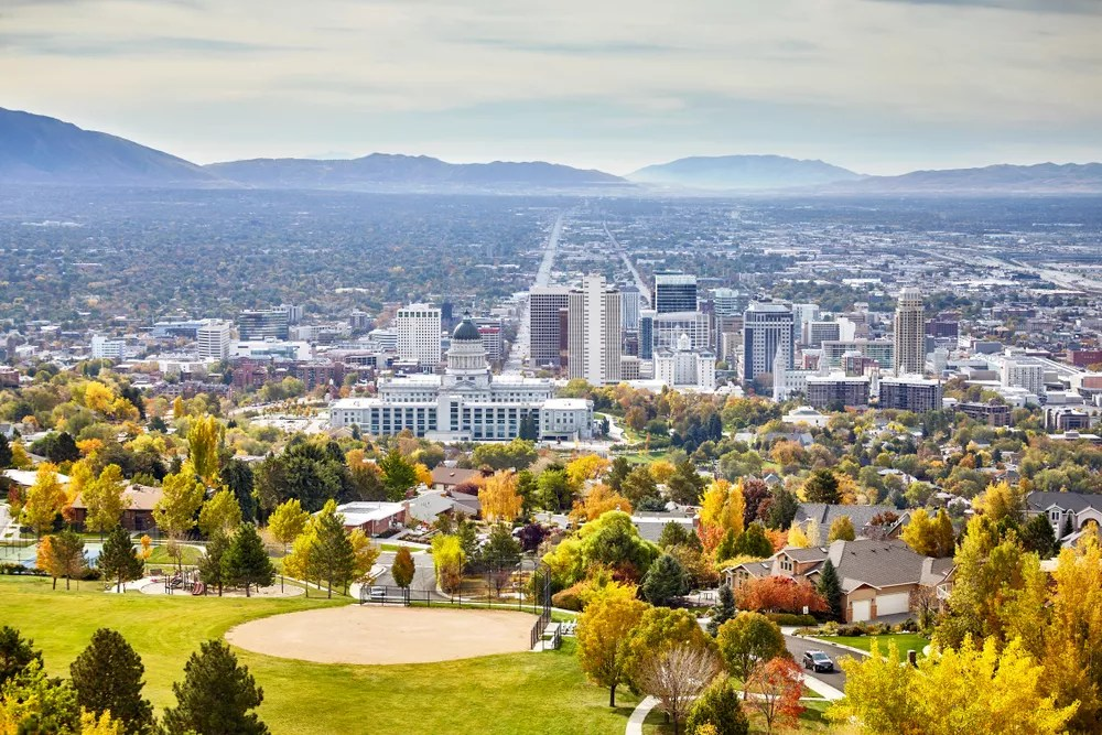 view of downtown Salt Lake City from the hilltops