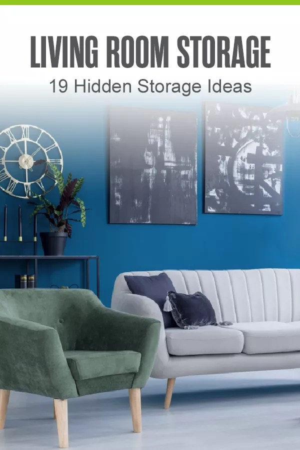Looking for ways to organize and add storage to your living room? These 20 hidden storage ideas can help you keep clutter out of sight in the living room! via @extraspace