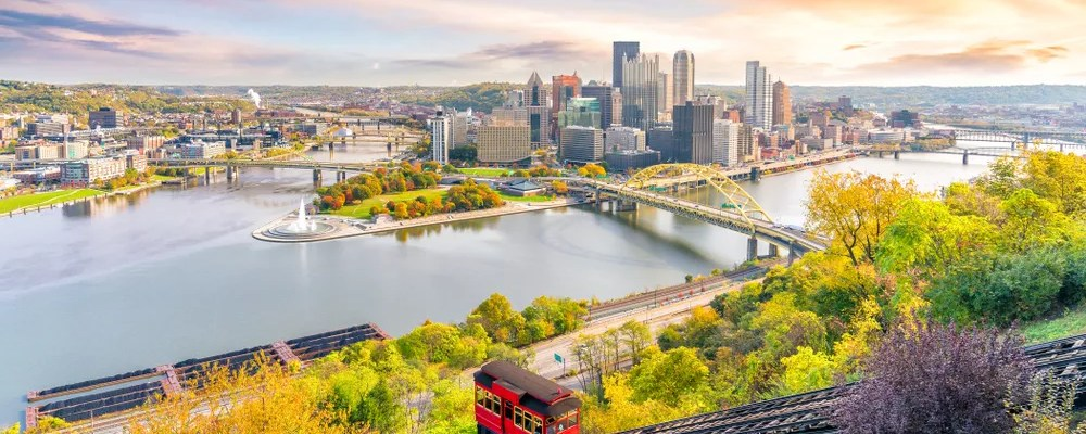 Skyline Photo of Downtown Pittsburgh From Up on the Hill