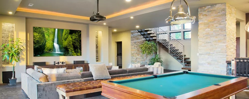 Basement Man Cave with Large TV and Pool Table