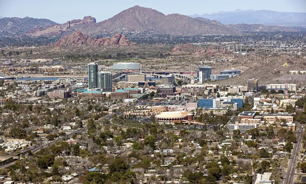 """Aerial View of Downtown Tempe with """"A"""" Mountain in the Background"""