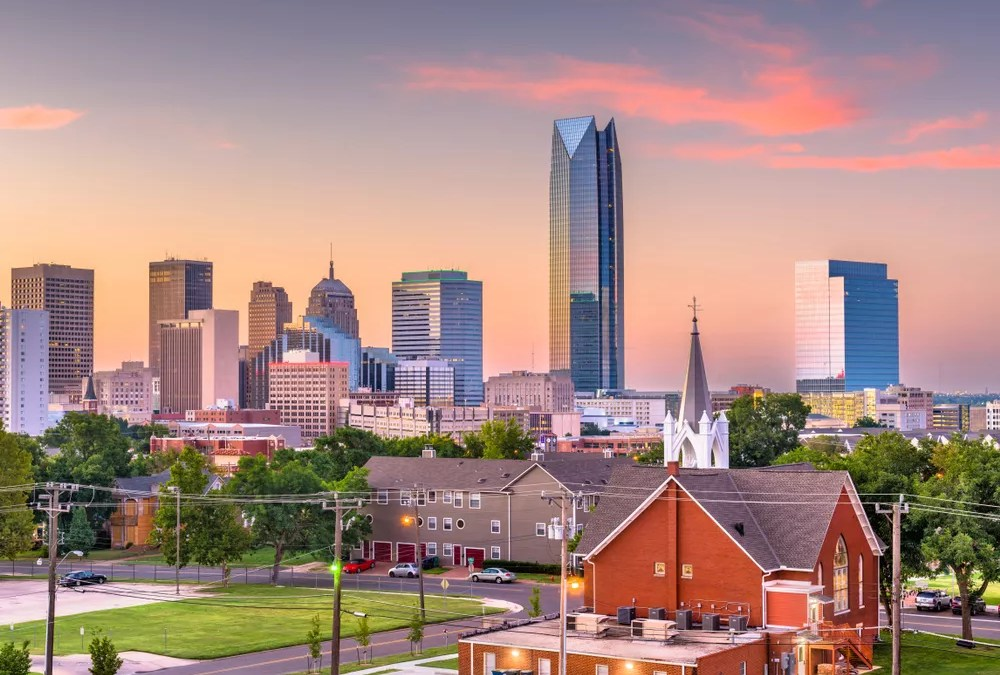 View of Downtown Oklahoma City Skyline at Sunset