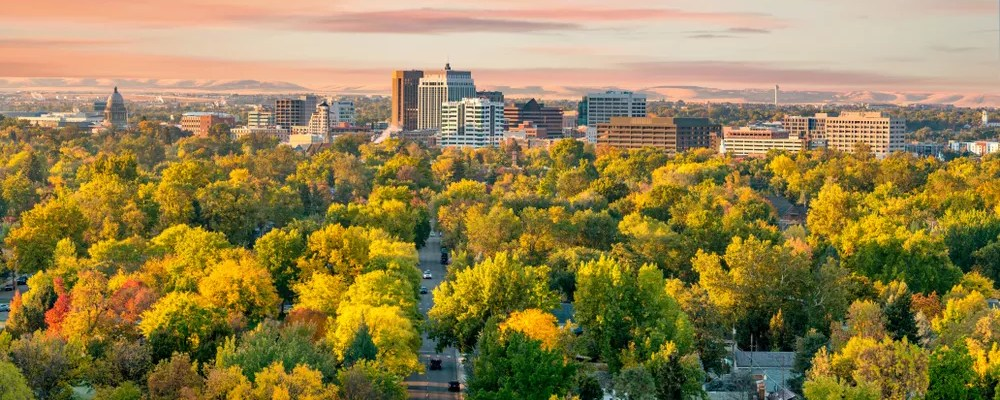 Aerial Photo of Downtown Boise at Golden Hour