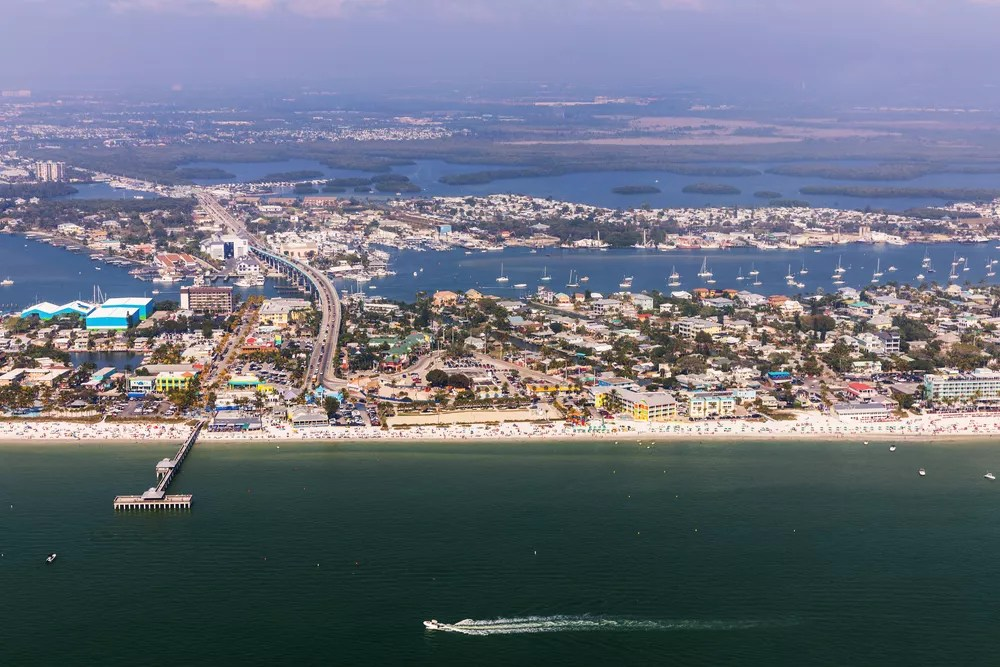 Aerial View of Fort Myers Beach Along the Coastline of the Gulf of Mexico