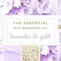 Lavender and Gold Web Blog Branding Kit, Purple Blog Design, Social Media Icons, Blogger Website Header, Stock Photos