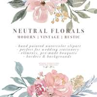 Neutral Watercolor Flowers Clipart, Floral Borders & Frames for Wedding Invitations, Logos, Commercial Use