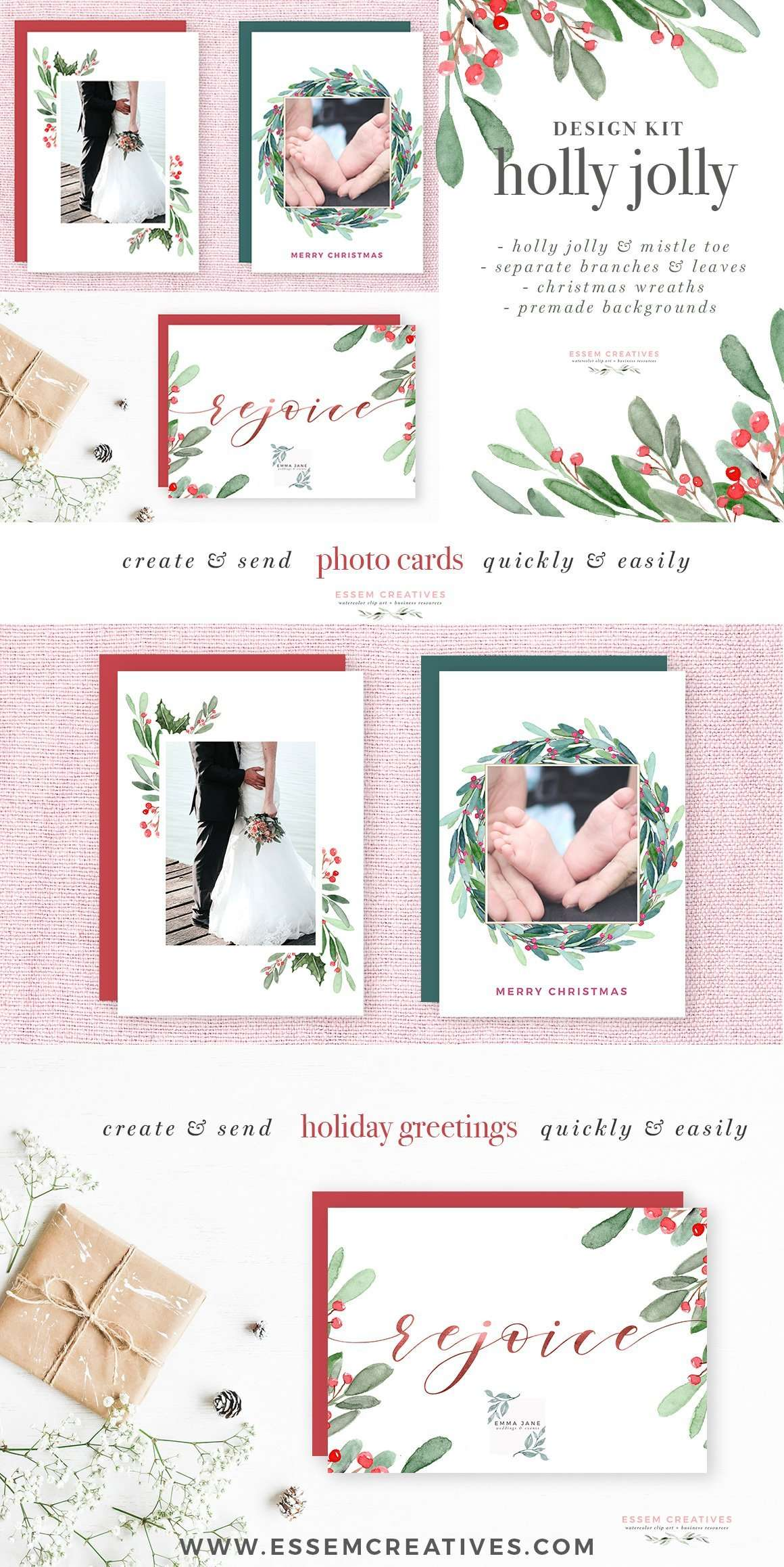 Watercolor Christmas Wreath Clipart Christmas Card