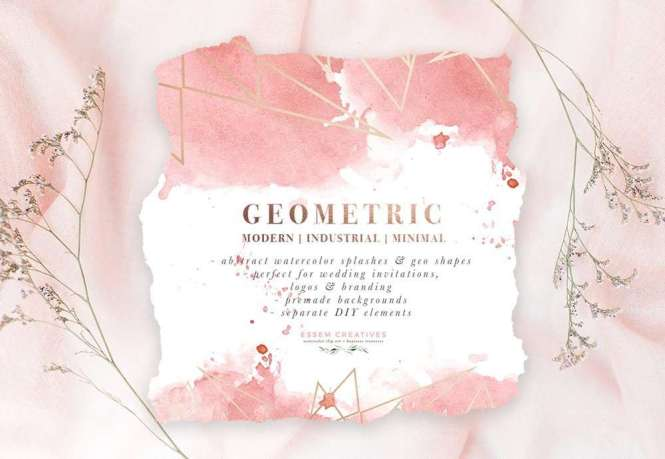 Diy Geometric Watercolor Wedding Invitation Backgrounds Clipart Table Number Decorations