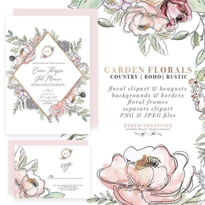 Garden Fl Watercolor Invitation