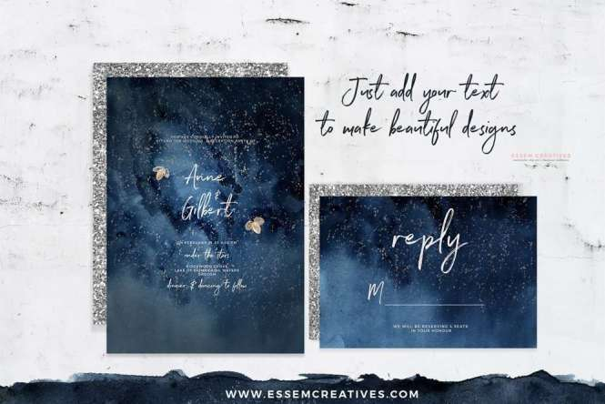 Starry Night Sky Watercolor Clipart