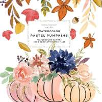 Fall Pumpkins Thanksgiving Clipart, Pumpkin Vase Graphics, Autumn Leaf Wreath Clipart