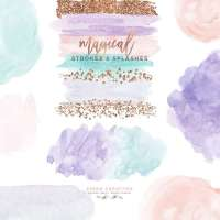 Watercolor Brush Strokes Clipart, Rose Gold Glitter Splash Paint Splatter with Transparent Background